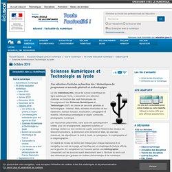 Sciences Numériques et Technologie au lycée