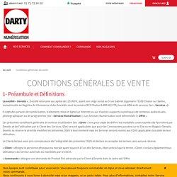 Darty Numérisation - Conditions générales de vente