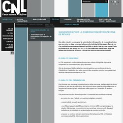 Subventions pour la numérisation - CNL