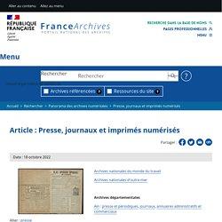 Presse, journaux et imprimés numérisés par les départements et les communes
