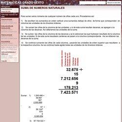 SUMA DE NUMEROS NATURALES - MATEMATICAS GRADO SEXTO