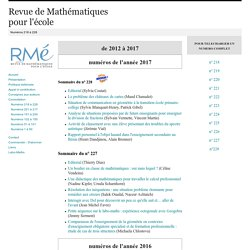 Numéros 218 à 228 - Revue de Mathématiques pour l'école - UNIGE