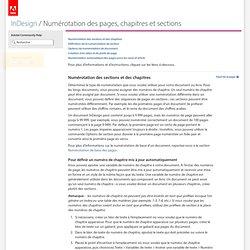 InDesign * Numérotation des pages, chapitres et sections