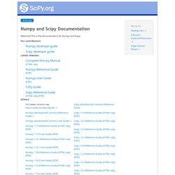 Numpy and Scipy Documentation — Numpy and Scipy documentation