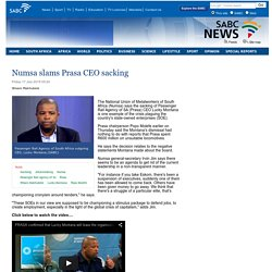 Numsa slams Prasa CEO sacking :Friday 17 July 2015
