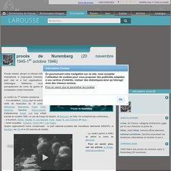 procès de Nuremberg 20 novembre 1945-1er octobre 1946