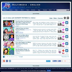 List of videos with NURSERY RHYMES for children - from Multimedia-English (learn real English)