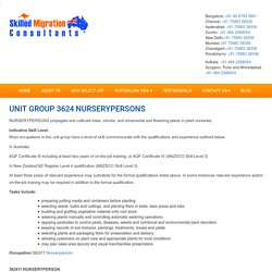 UNIT GROUP 3624 NURSERYPERSONS