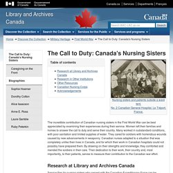 The Call to Duty: Canada's Nursing Sisters - Library and Archives Canada