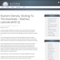 Nutrient Density: Sticking To The Essentials - Mathieu Lalonde (AHS12) - Ketopia