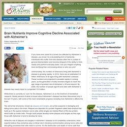 Brain Nutrients Improve Cognitive Decline Associated with Alzheimer's