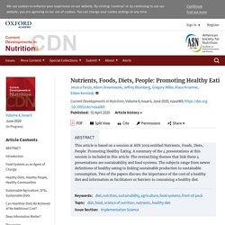 Nutrients, Foods, Diets, People: Promoting Healthy Eating