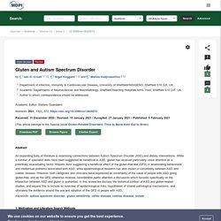 Gluten and Autism Spectrum Disorder