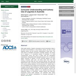 NUTRIENTS 12/07/19 Consumer Understanding and Culinary Use of Legumes in Australia
