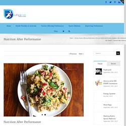 Nutrition After Performance - HSC PDHPE