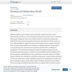 Nutrition and Athlete Bone Health