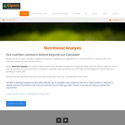 Nutrient Analysis, Nutrition Calculators, Allergen Analysis and Reporting
