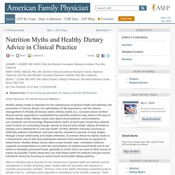 Nutrition Myths and Healthy Dietary Advice in Clinical Practice