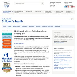 Nutrition for kids: Guidelines for a healthy diet