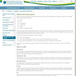 Nutrition information panels