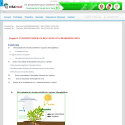 Nutrition minérale des végétaux: cours - accesmad