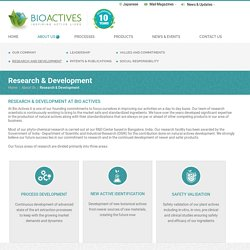Nutrition Products & food Research Company in Japan, India - Bioactives
