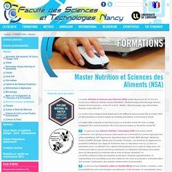 Master Nutrition et Sciences des Aliments (NSA)