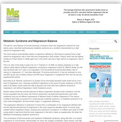 Metabolic Syndrome and Magnesium Balance