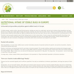 Nutritional intake of edible bugs in Europe - Europe Entomophagie