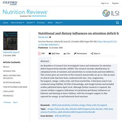 Nutritional and dietary influences on attention deficit hyperactivity disorder