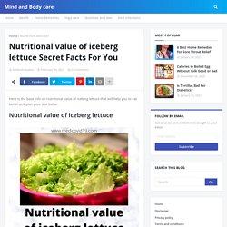 Nutritional value of iceberg lettuce Secret Facts For You