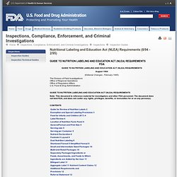 Inspection Guides > Nutritional Labeling and Education Act (NLEA) Requirements (8/94 - 2/95)