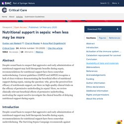 Nutritional support in sepsis: when less may be more