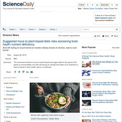 Suggested move to plant-based diets risks worsening brain health nutrient deficiency: And UK failing to recommend or monitor dietary levels of choline, warns nutritionist