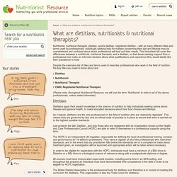 What are dietitians, nutritionists & nutritional therapists? - Nutritionist Resource