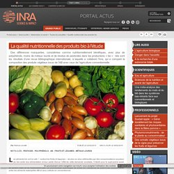 INRA 02/02/15 La qualité nutritionnelle des produits bio à l'étude