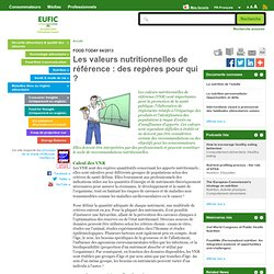 EUFIC - AVRIL 2013 - Les valeurs nutritionnelles de référence : des repères pour qui ?