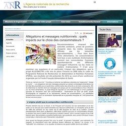 ANR 27/01/15 Allégations et messages nutritionnels : quels impacts sur le choix des consommateurs ?