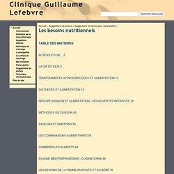 Les besoins nutritionnels - Clinique Guillaume Lefebvre