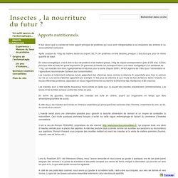 Apports nutritionnels - Insectes , la nourriture du futur ?