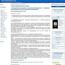 « Récupération du sportif, 5 conseils nutritionnels clé » : Un Ebook gratuit consacré à la récupération nutritionnelle