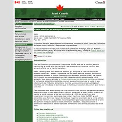 Valeur nutritive de quelques aliments usuels [Santé Canada, 2008]