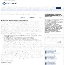Forenregeln Vorlage - Gratis Nutzungsbedingungen fürs Forum - JuraForum