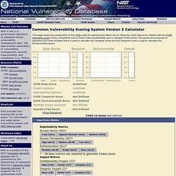 National Vulnerability Database CVSS Scoring