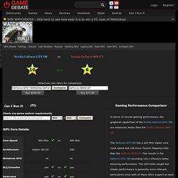Nvidia GeForce GTX 780 compare Nvidia GeForce 8800 GT GPU