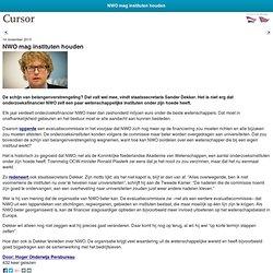 Cursor: **NWO mag instituten houden- schijn van belangenverstrengeling?