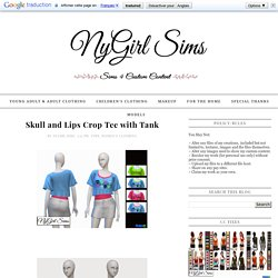 NyGirl Sims 4: Skull and Lips Crop Tee with Tank