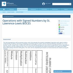 NYLearns.org - Operations with Signed Numbers by St. Lawrence-Lewis BOCES