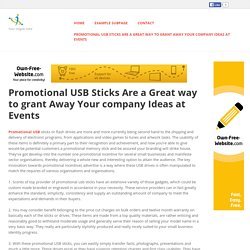 Promotional USB Sticks Are a Great way to grant Away Your company Ideas at Events