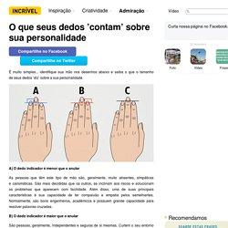 Oque seus dedos 'contam' sobre sua personalidade